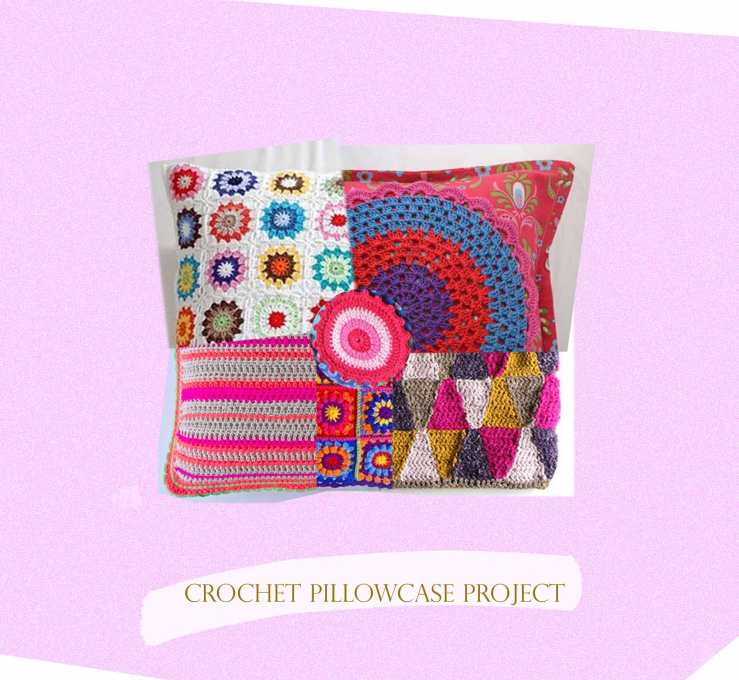 crochet pillow case collage